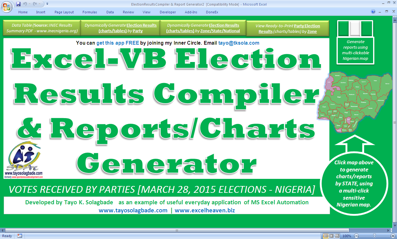Screenshot 1 (Above): The Navigation Menu/Switchboard - a Custom Graphic User Interface (GUI) I create to help users find their way around quickly | Excel-VB Elections Results Compiler & Reports/Charts Generator - Click now to view examples of summary reports and charts autogenerated by this new Excel-VB driven app. I'm building it mainly to demonstrate how Excel can be used to boost producitivty in everyday activities.