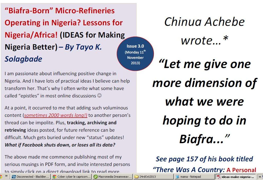 "PDF - ""Biafra-Born"" Micro-Refineries Operating in Nigeria? Lessons for Nigeria/Africa!"