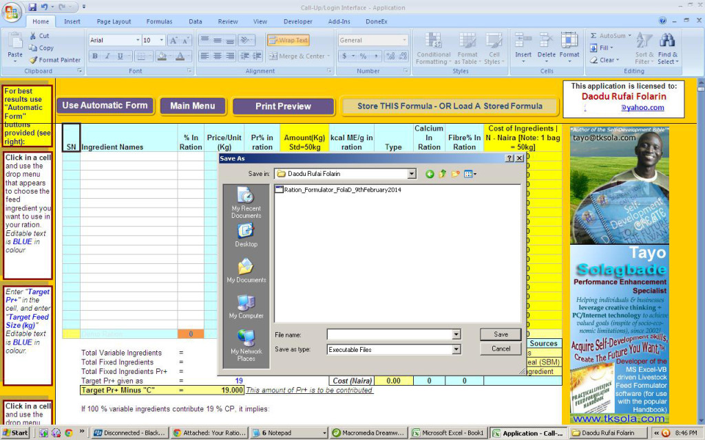 Screenshot of the 2014 upgrade version of my popular Excel-VB driven Ration Formulator sofware. Do you notice it's actually an EXE (executable) file, and NOT an Excel workbook...even though it's in Excel?! Users need not enable macros. Plus, it works on any Excel version (for Windows or Mac). All past buyers get it FREE!