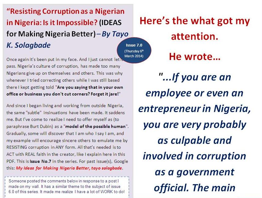 """""""Resisting Corruption as a Nigerian in Nigeria: Is it Impossible?"""" (IDEAS for Making Nigeria Better) – By Tayo K. Solagbade - Issue No. 7"""