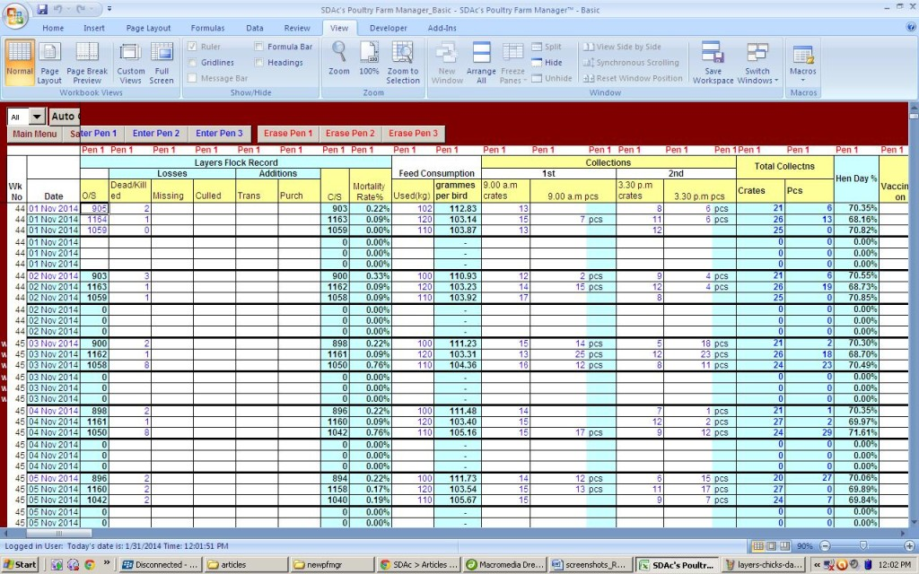 Layers Daily Operations Data Entry Table - Showing Computed Mortality Rates, Feeding Rates, Egg Collections and HDPs per cage line of birds.