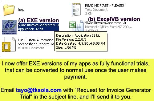 Request the EXE Trial Version of the Invoice Generator™