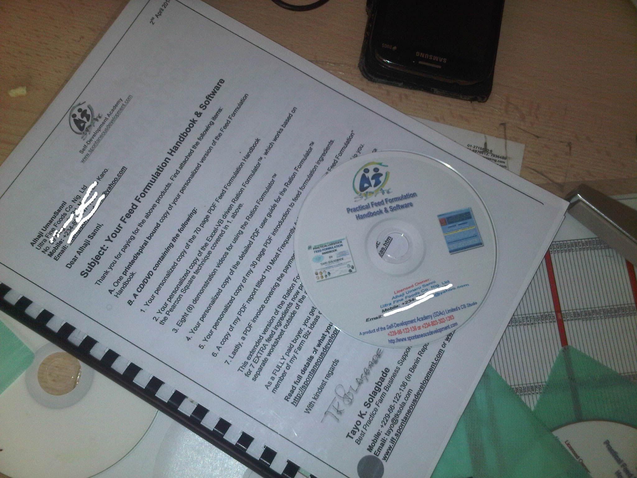 My Feed Formulation Handbook hard copy & Ration Formulator software DVD