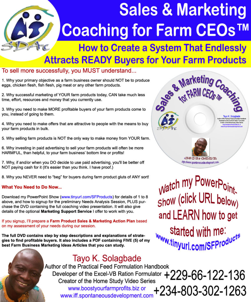This flyer announces the Introductory Video for my new Sales and Marketing Coaching Program for Farm Business CEOs: Click to download the PowerPoint Slideshow version