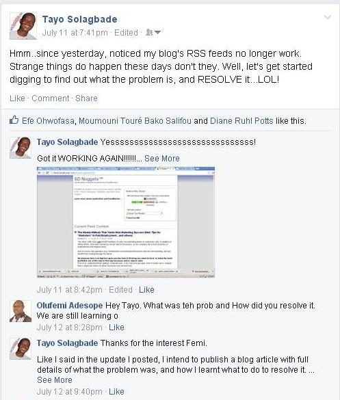 When I saw that for my feed, I went back to my Facebook post (where I'd earlier announced the problem), to share that I'd resolved it. (See screenshot below)