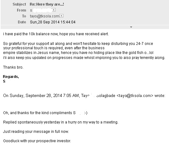 Screenshot of Email No. 2 - Received in the evening of the day after email No.1 arrived