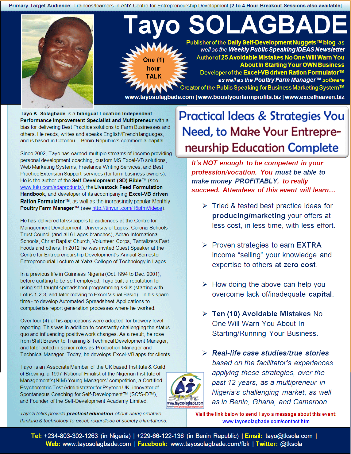 Click to download - PDF Speaker One Sheet for Tayo Solagbade's ONE HOUR TALK titled 'Practical Ideas and Strategies You Need to Make Your Entrepreneurship Education Complete'