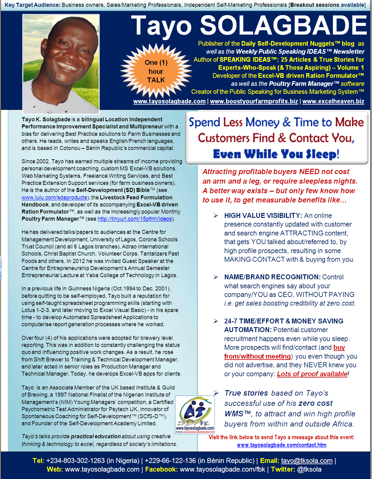 Click to download - PDF Speaker One Sheet for Tayo Solagbade's ONE HOUR TALK titled 'Spend Less Money & Time to Make Customers Find & Contact You, Even While You Sleep!'