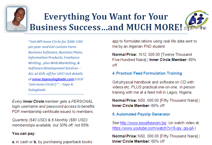 PDF - Click to download - Join MY Inner Circle for $160 USD per year and Get custom Farm Business Software, Business Plans, Information Products, Freelance Writing, plus Web Marketing, Software Development Services – ALL at 65% off for LIFE