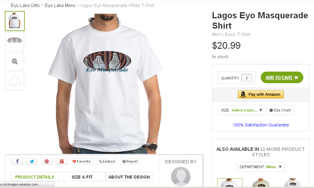 One of my branded Eyo Masquerade T-shirts on sale in my Cafepress.com online store