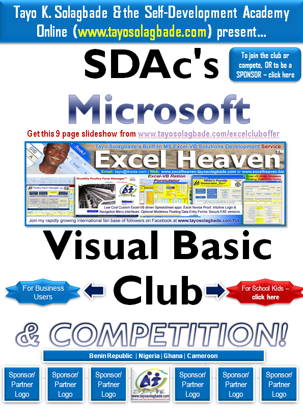 Excel-VB Club | TayoSolagbade com