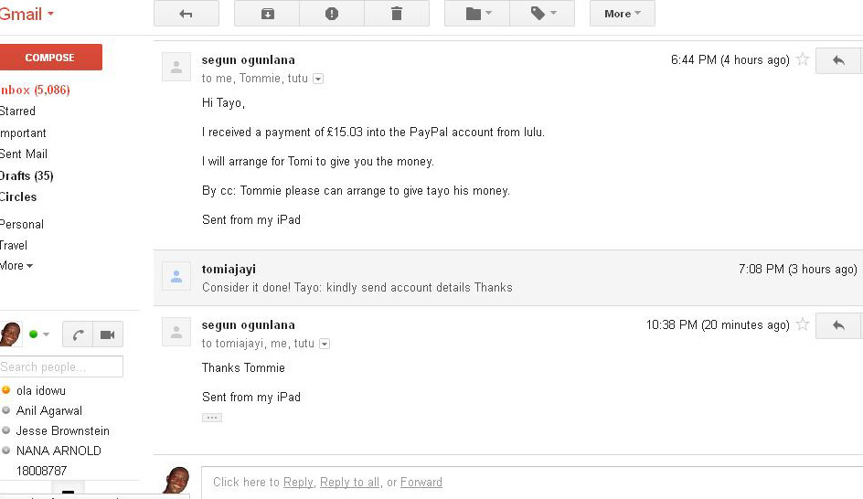 Screenshot of email correspondence between my UK based brother-in-law, and my sister in Nigeria, as they arrange to have my royalties delivered to me. Click to view larger image