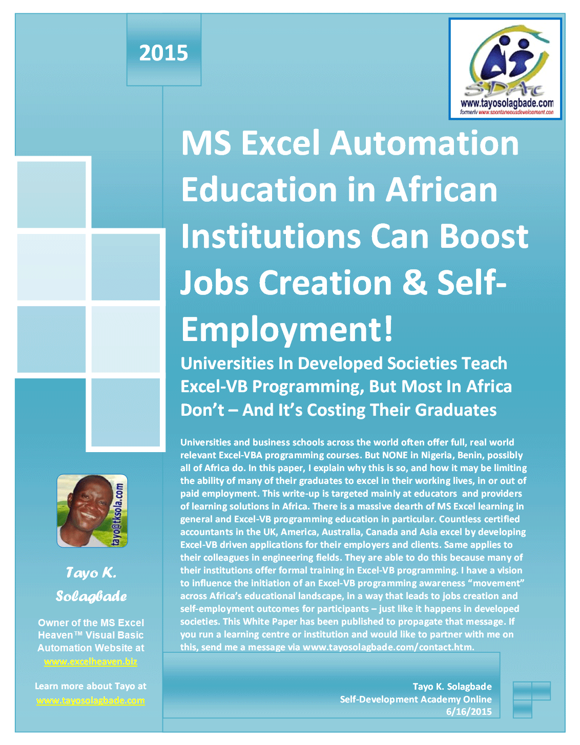 MS Excel Automation Education in African Institutions Can Boost Jobs Creation & Self-Employment!