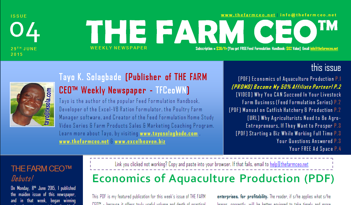 tfc04-cover - Here's a preview of Issue No. 04 of THE FARM CEO Weekly Newspaper...