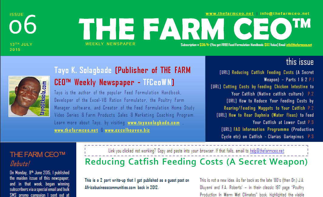 Screenshot of the cover for Issue No. 06 of THE FARM CEO (Monday 13th July 2015)