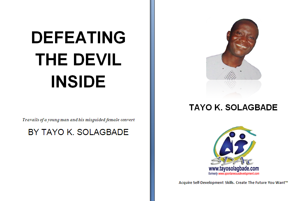 My new book's title - Defeating the Devil Inside (photo: inside page) - will raise eyebrows...and that's (partly) the idea.