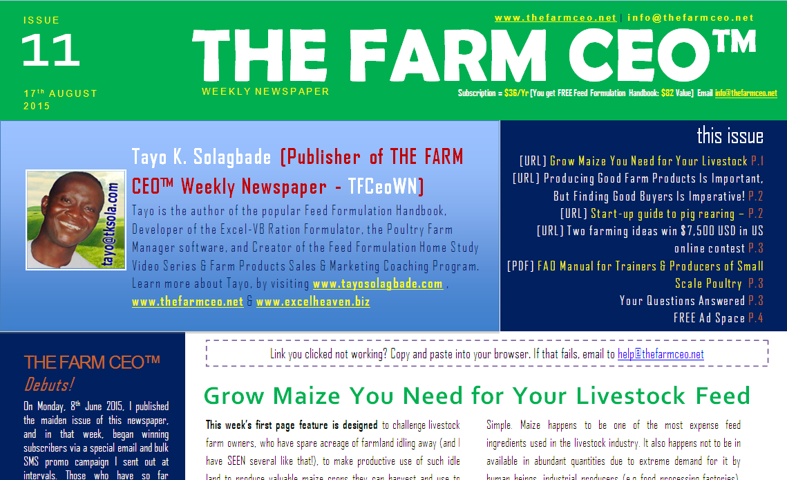 Screenshot of the cover for Issue No. 11 of THE FARM CEO (Monday 17th August 2015)