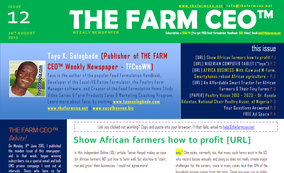 Screenshot of the cover for Issue No. 12 of THE FARM CEO (Monday 24th August 2015)