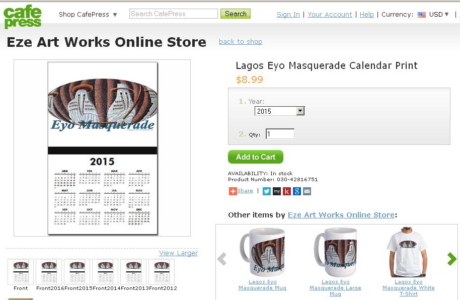 Lagos Eyo Masquerade Calendar Print