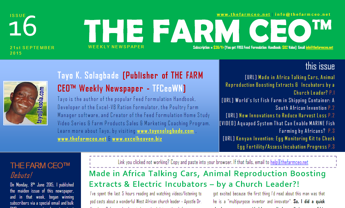 Screenshot of the cover for Issue No. 16 of THE FARM CEO (Monday 21st September 2015)