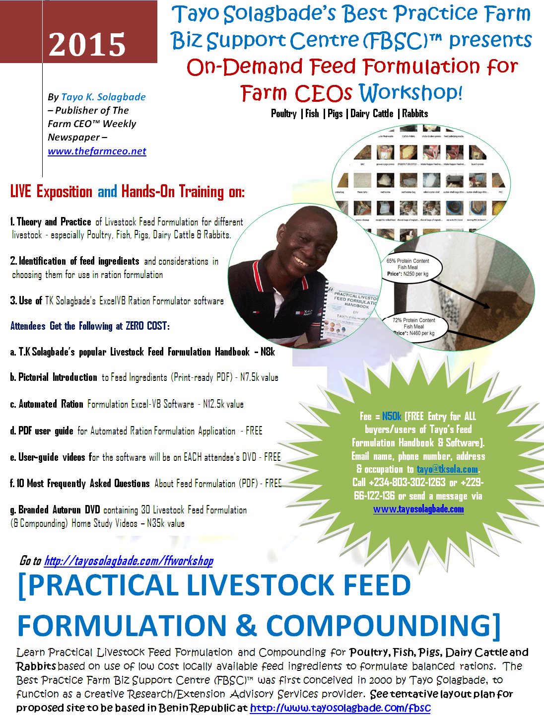 One page flyer for On-Demand Feed Formulation for Farm CEOs Workshop