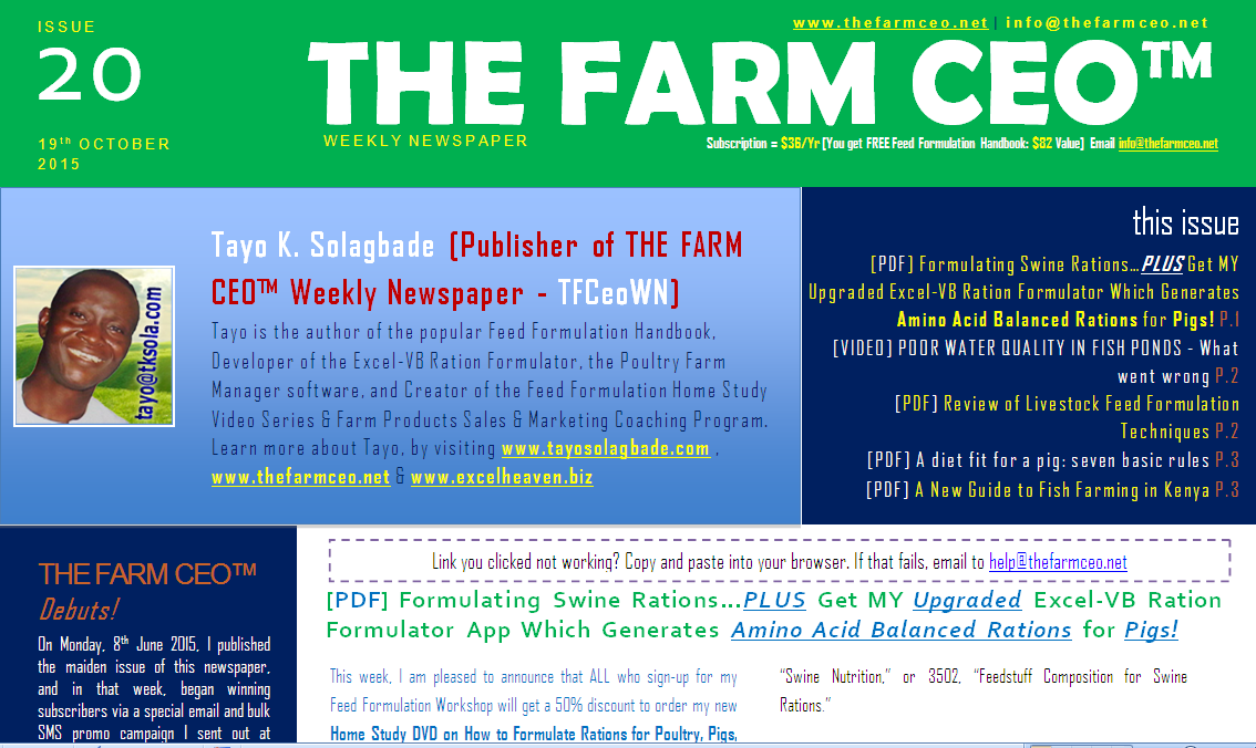Screenshot of the cover for Issue No. 20 of THE FARM CEO (Monday 19th October 2015)