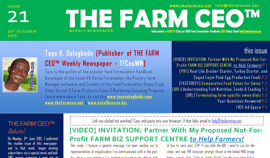 Screenshot of the cover for Issue No. 21 of THE FARM CEO (Monday 26th October 2015)