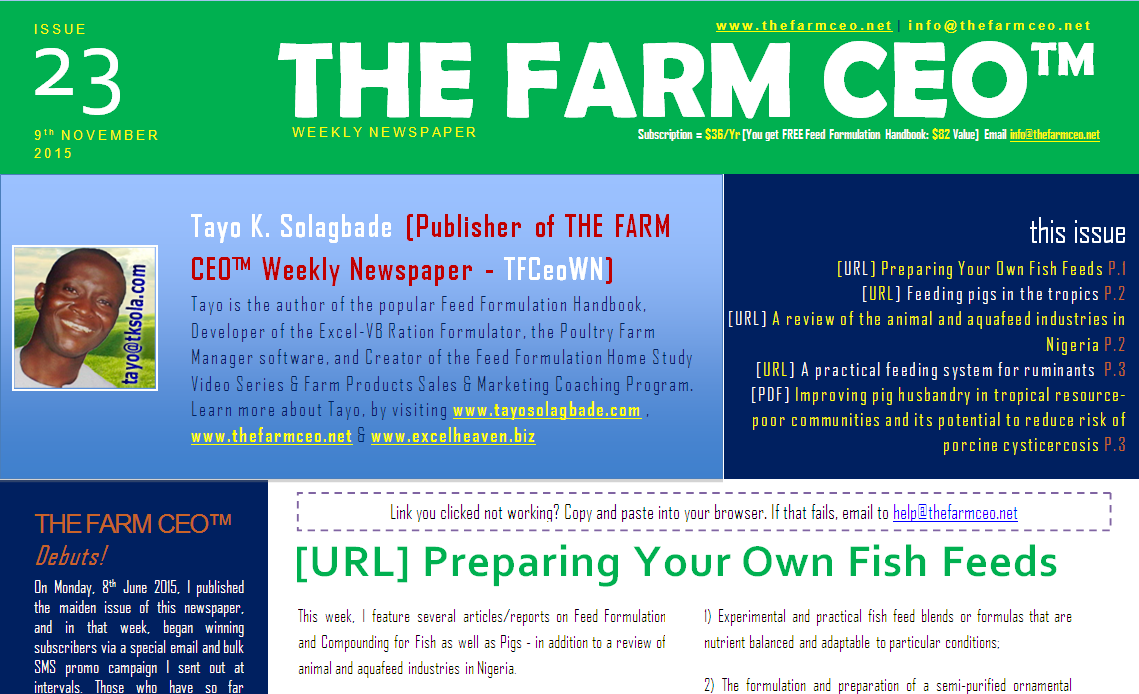 Screenshot of the cover for Issue No. 23 of THE FARM CEO (Monday 9th November 2015)
