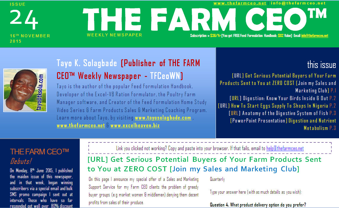 Screenshot of the cover for Issue No. 24 of THE FARM CEO (Monday 16th November 2015)