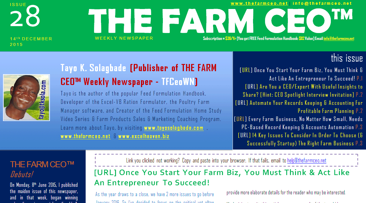 Screenshot of the cover for Issue No. 28 of THE FARM CEO (Monday 14th December 2015)