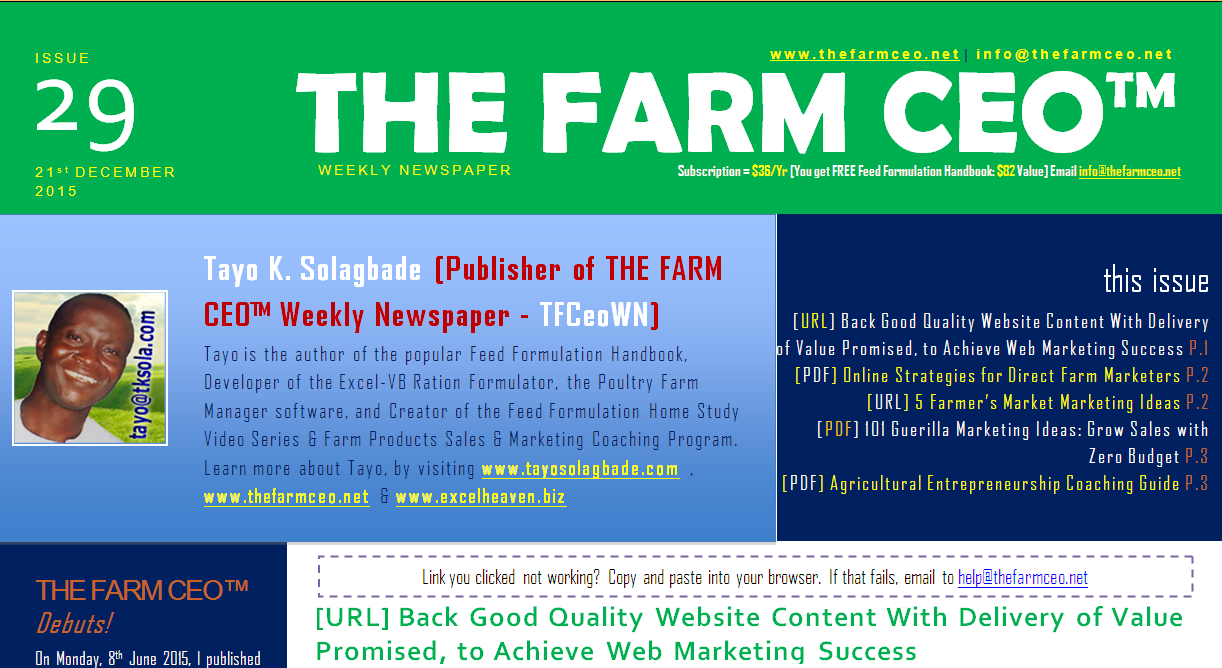 Screenshot of the cover for Issue No. 29 of THE FARM CEO (Monday 21st December 2015)