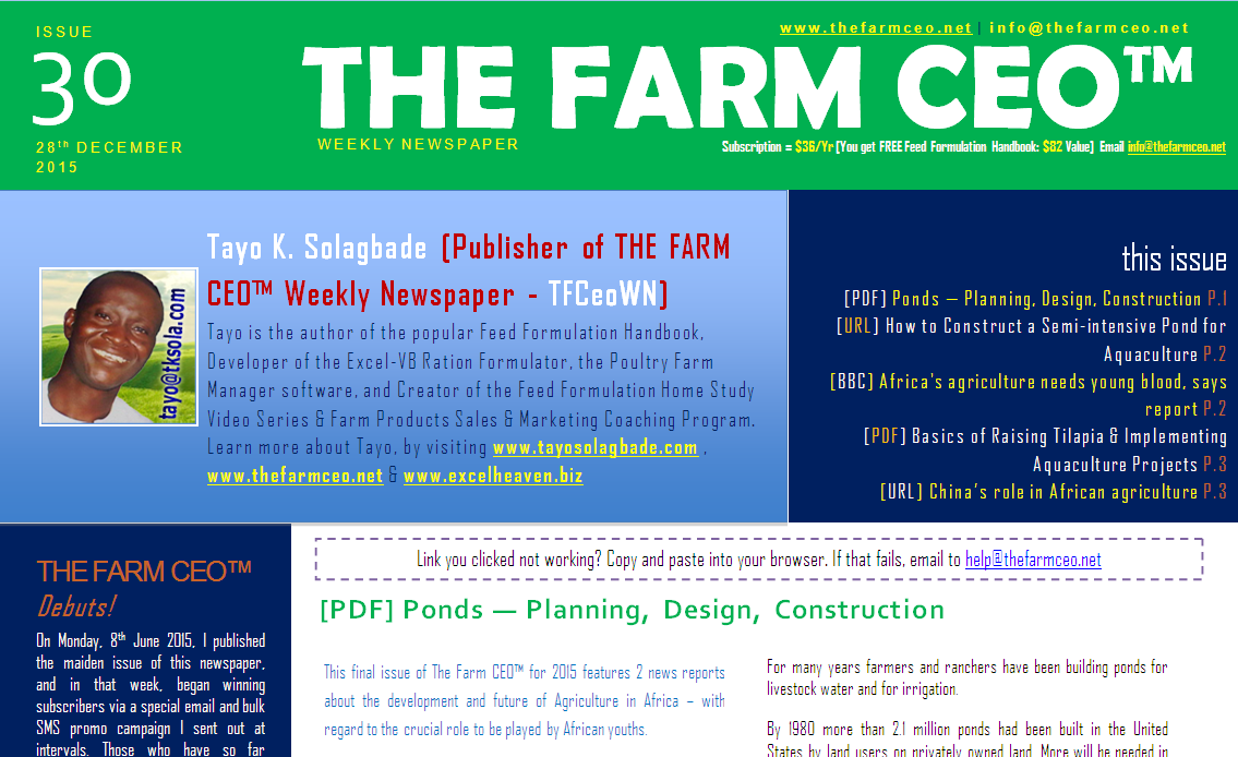 Screenshot of the cover for Issue No. 30 of THE FARM CEO (Monday 28th December 2015)