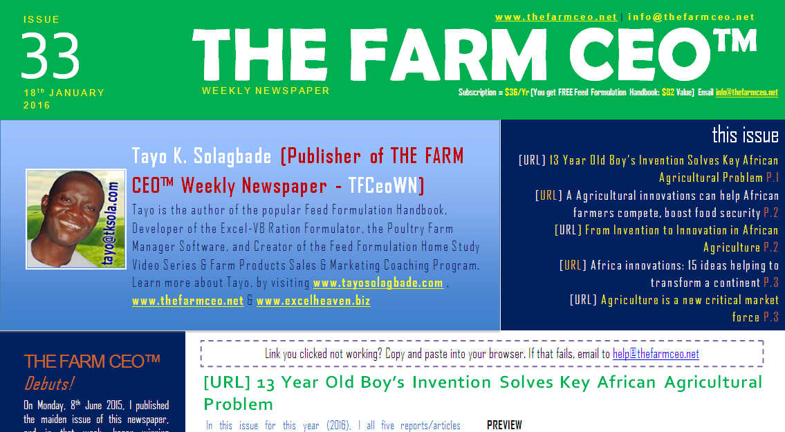 Screenshot of the cover for Issue No. 33 of THE FARM CEO (Monday Monday 18th January 2016)