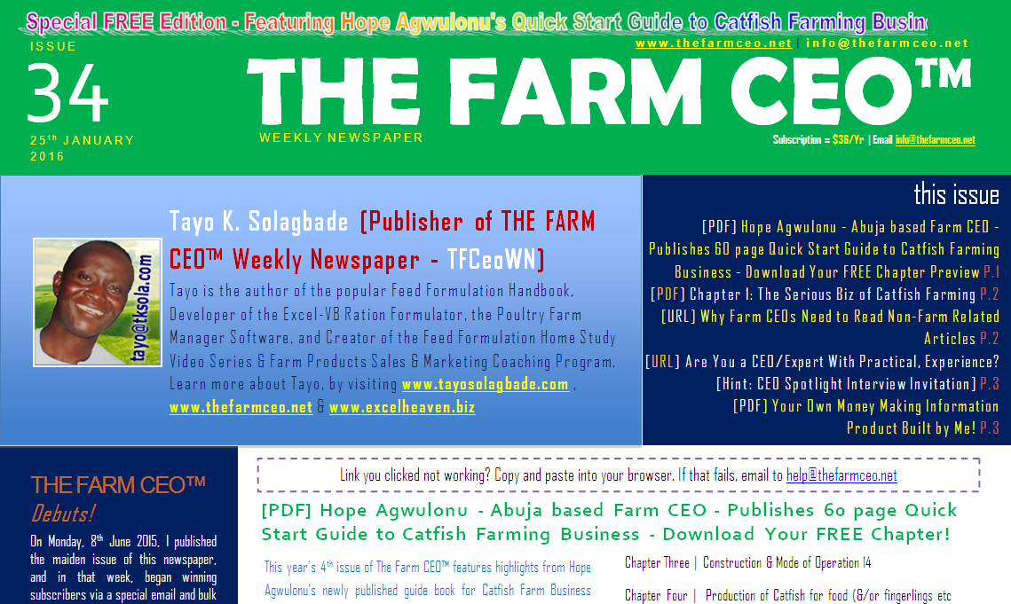 Screenshot of the cover for Issue No. 34 of THE FARM CEO (Monday Monday 25th January 2016)