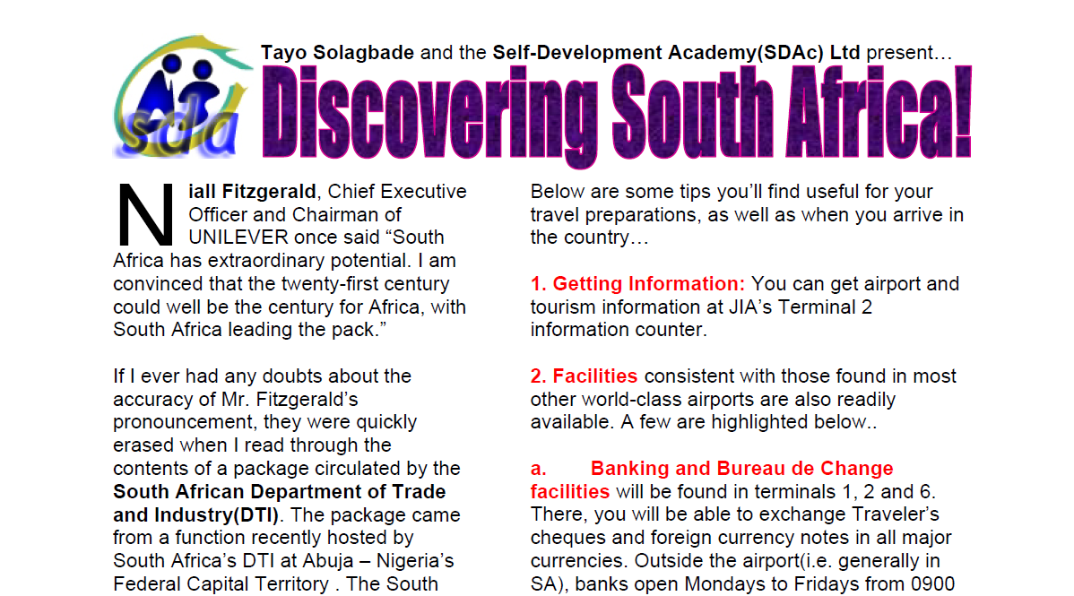 Click to download - Tayo Solagbade's Performance Improvement IDEAS(PI Squared) Newsletter PII 003: Discovering South Africa [Downloadable PDF Travel Guide]