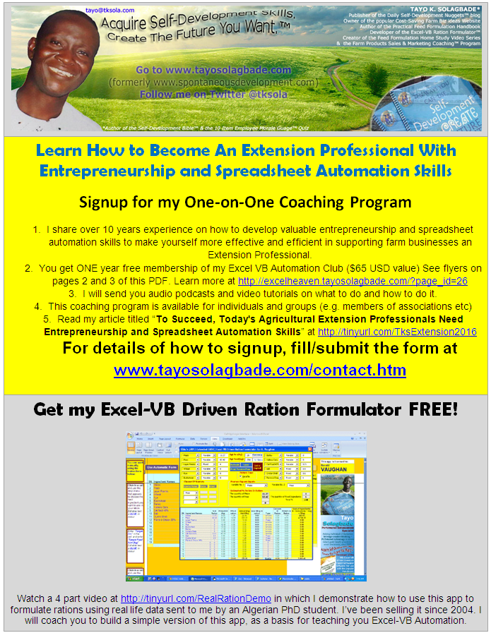Learn How to Become An Extension Professional With Entrepreneurship and Spreadsheet Automation Skills - Signup for my One-on-One Coaching Program