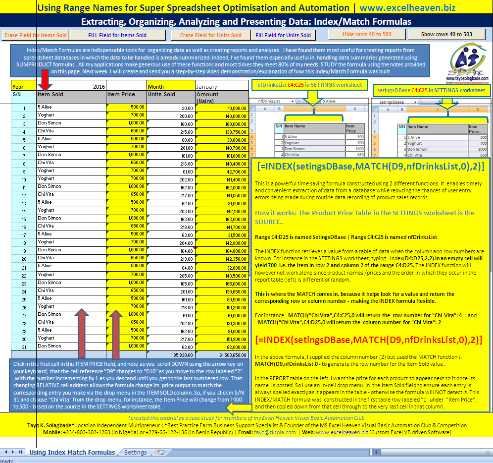 Screenshot of MS Excel worksheet with explanatory notes on how the Index/Match formula I created was used to generate the report shown.