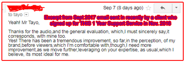 Click to view large version of this screenshot excerpt from a September 2017 email sent in recently by a client who signed up for THIS 1 Year Support Service in November 2016