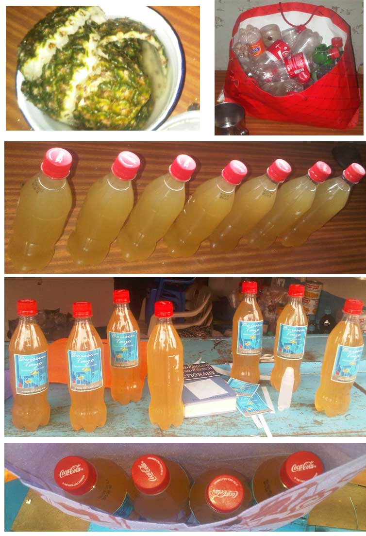 Pictures showing some stages of my pineapple peels based drink's production