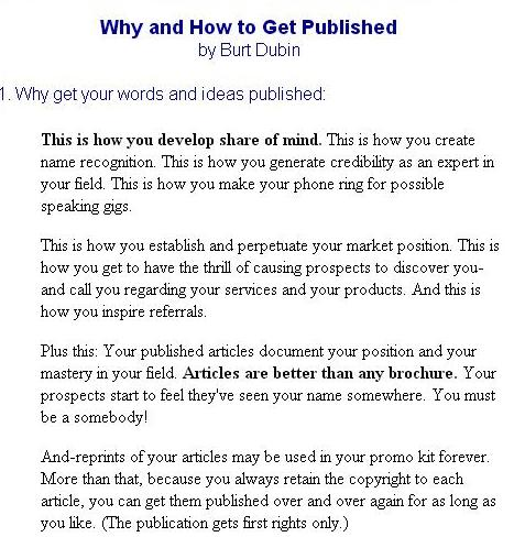 Screenshot of Burt Dubin's article titled 'Why and How to Get Published'