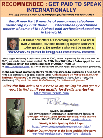 Burt Dubin now offers his speaker mentoring service to experts based in Africa. Click now to download this flyer as PDF