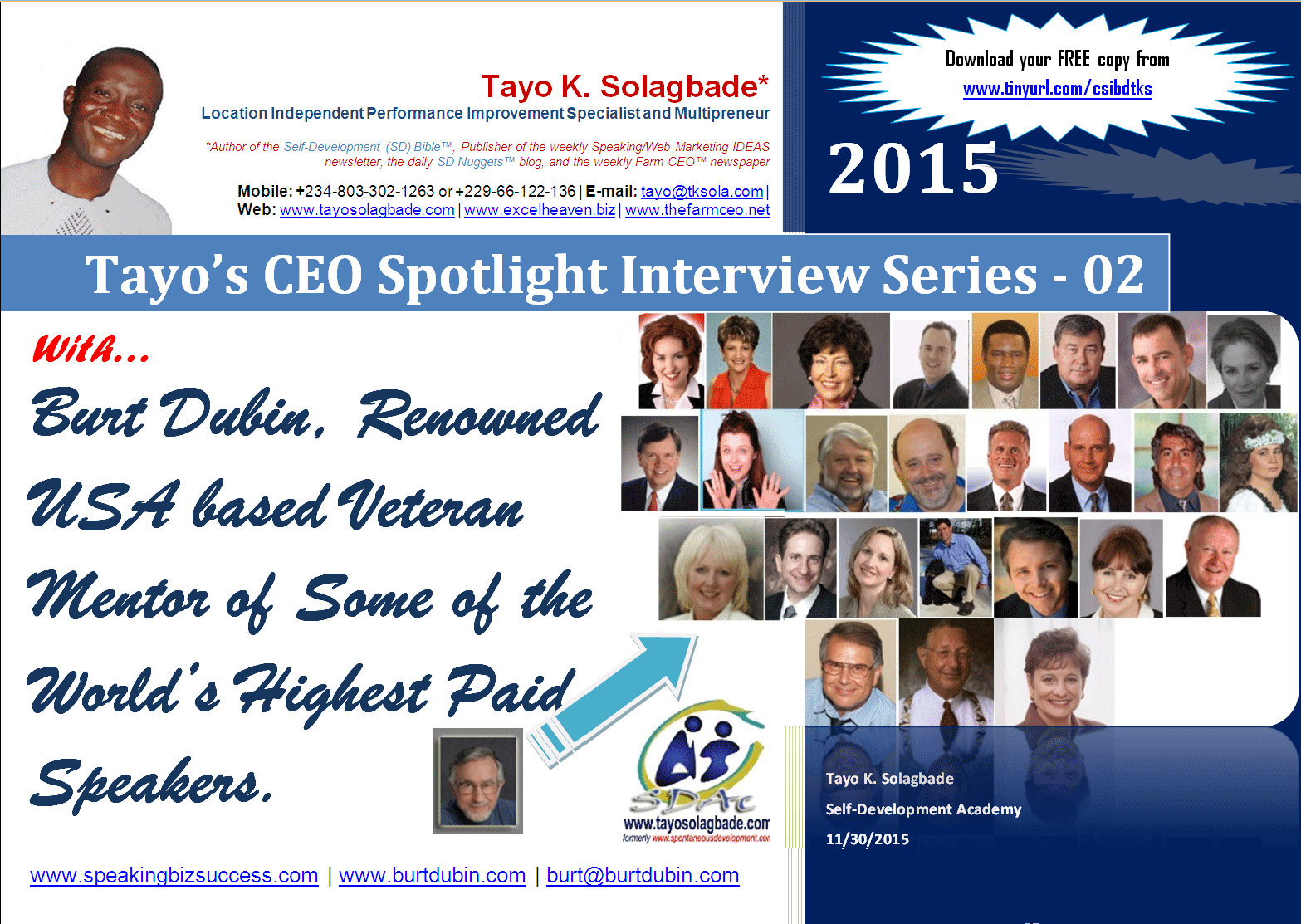 PDF Cover page - CEO Spotlight Interview With Burt Dubin, 91 Year Old Creator of the Speaking Success System™, and Mentor to Some of the World's Highest Paid Speakers