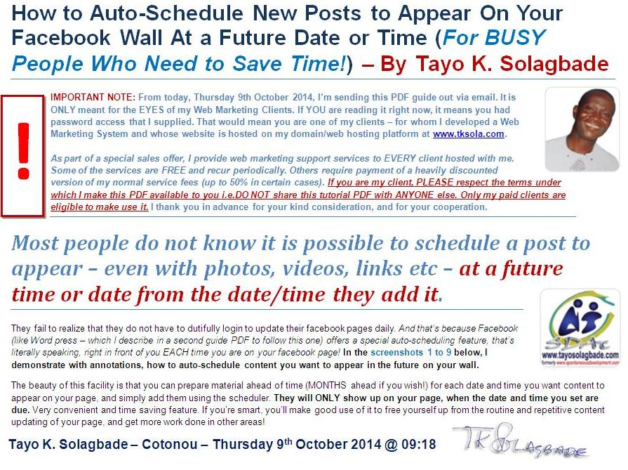 PDF: How to Auto-Schedule New Posts to Appear On Your Facebook Wall At a  Future Date or Time (<em>For BUSY People Who Need to Save Time! Click now to download