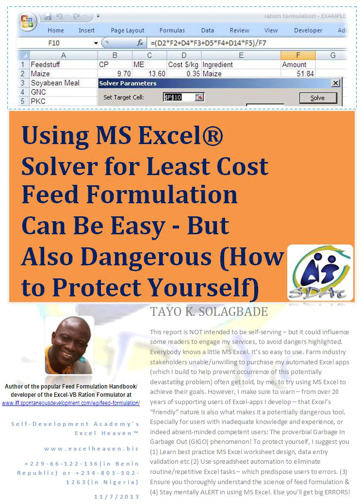 Using MS Excel® Solver for Least Cost Feed Formulation Can Be Easy - But Also Dangerous (How to Protect Yourself) - Click to download