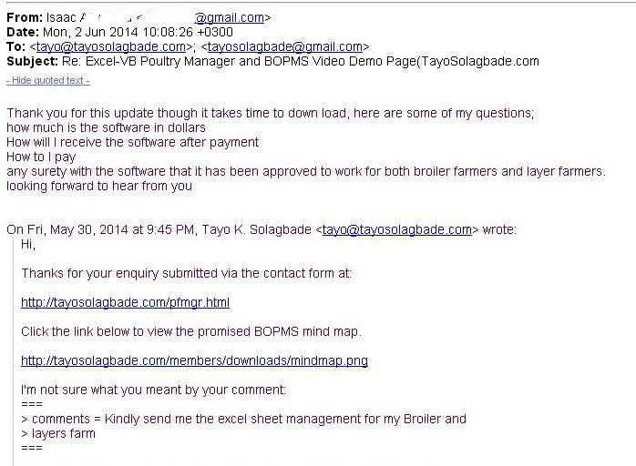 Screenshot of email message - Now, just 24 Hours Earlier, Id email a detailed response to questions sent in by a Tanzanian poultry farmer about my Poultry Farm Manager software! - www.tayosolagbade.com
