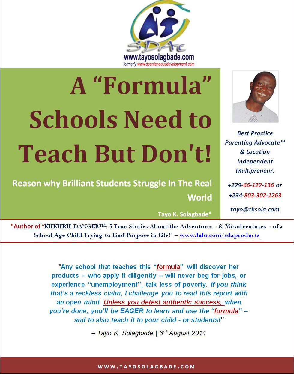 "A ""Formula"" Schools Need to Teach, But Don't! (FREE PDF Report)"