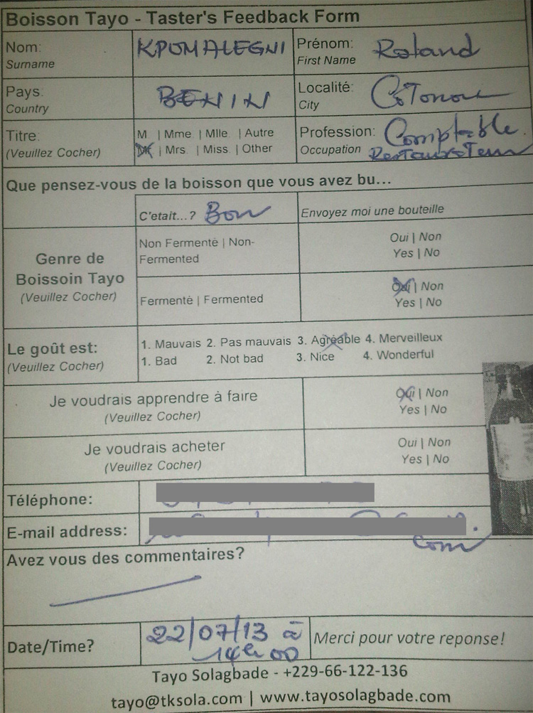 Taster feedback form filled by an accountant in a Cotonou Restaurant
