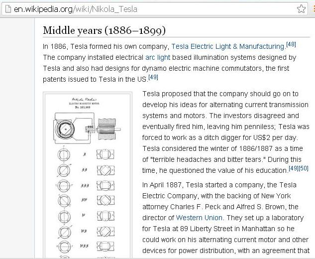 Screenshots that shows an excerpt of how Tesla went from being penniless, after losing his company, to starting a new company, and going on to even greater successes. Note that during the
