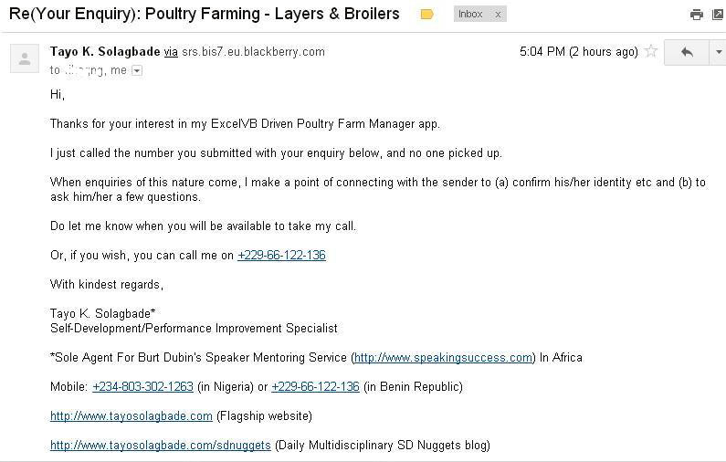 Screenshot of my email reply to the website contact form enquiry from a Farm CEO based in Rivers State, Nigeria